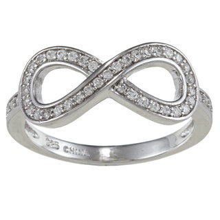 La Preciosa Sterling Silver Cubic Zirconia Infinity Ring