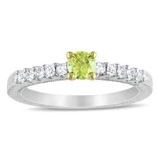 Miadora 10k White Gold 1/2ct TDW Yellow and White Diamond Ring (H-I, I1-I2)