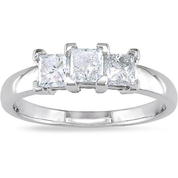 Miadora 14k Gold 1ct TDW Princess-cut Diamond 3-stone Ring (G-H, I2-I3)