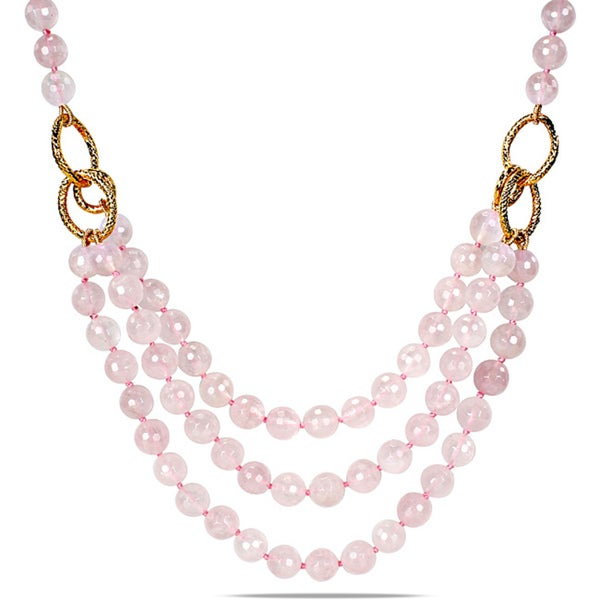 "M by Miadora 600ct TGW Rose Quartz Three-strand Necklace (18"")"