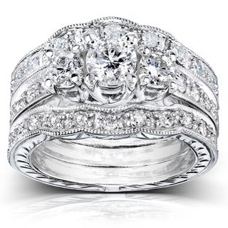 Annello 14k White Gold 1 1/4ct TDW Diamond 3-piece Bridal Ring Set (H-I, I1-I2)