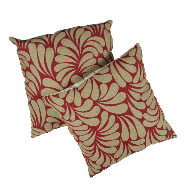 Splash Tan Leaves with Red Background 18-inch Pillows (Set of 2)