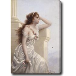 Edouard Bisson 'A Young Beauty with a Wreath of Roses' Hand-painted Oil on Canvas Art