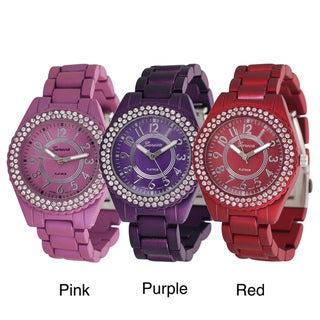 Geneva Platinum Women's Rhinestone Soft-coated Link Watch