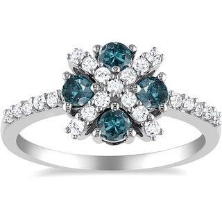 Miadora Sterling Silver 3/4ct TDW Blue and White Diamond Ring (H-I, I2-I3)