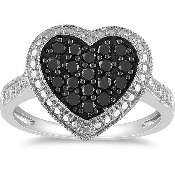 M by Miadora Sterling Silver 1/2ct TDW Black Diamond Heart Ring