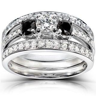 Annello 14k White Gold 1ct TDW Diamond 3-piece Bridal Ring Set (H-I, I1-I2)