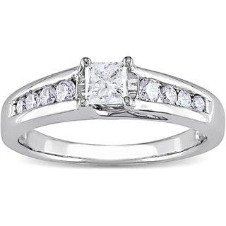 Miadora 14k Gold 1/2ct TDW Princess Cut Diamond Engagement Ring (H-I, I1-I2) (IGL)