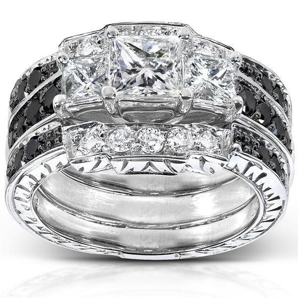 Annello 14k White Gold 1 7/8ct TDW Diamond 3-piece Bridal Ring Set (H-I, I1-I2)
