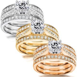 Annello 14k White Gold 1 1/2ct TDW Diamond 3-piece Bridal Ring Set (H-I, I1-I2) with Bonus Item