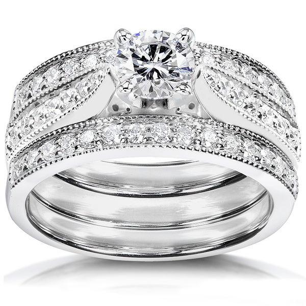 Annello 14k Gold 1ct TDW Diamond 3-piece Bridal Ring Set (H-I, I1-I2)