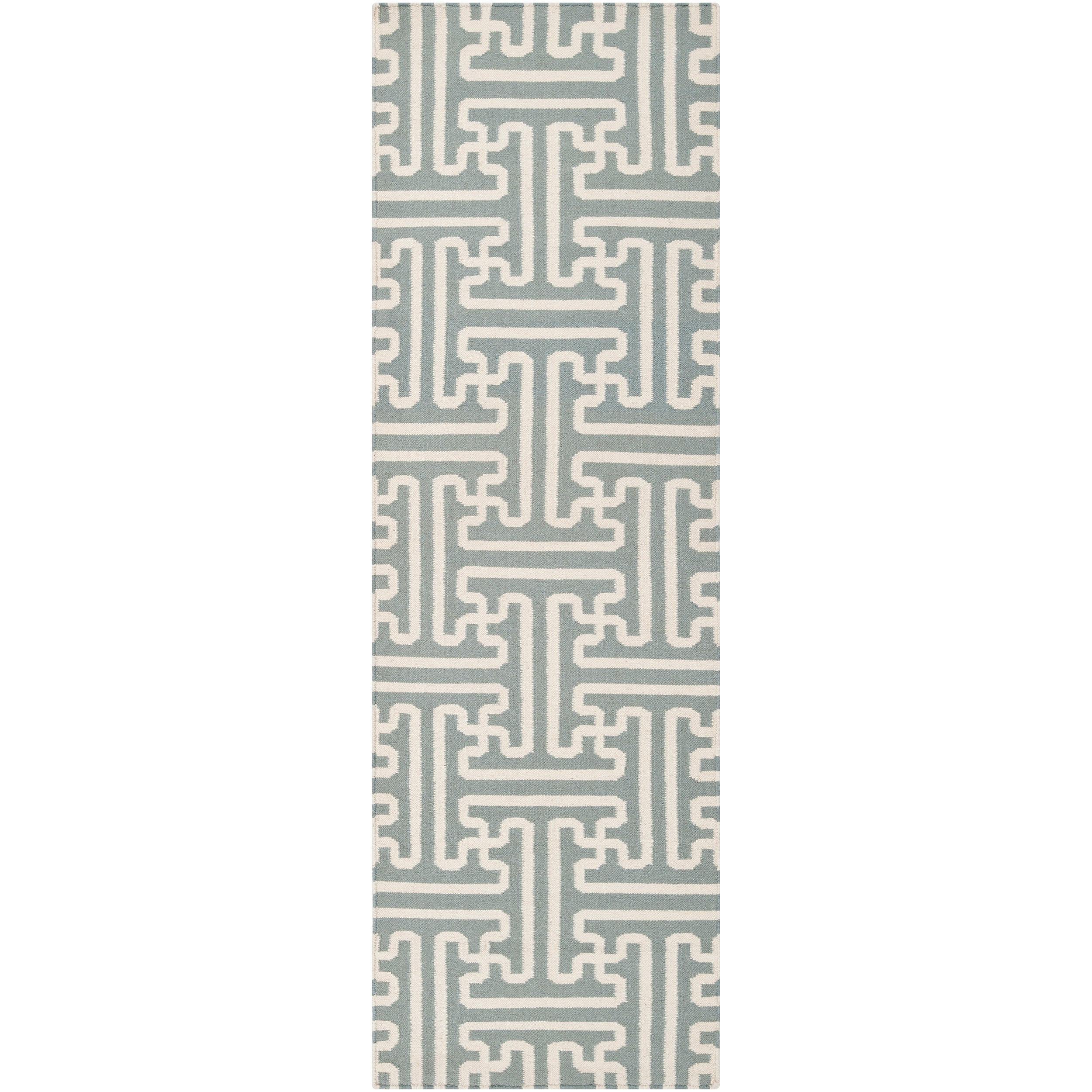 Smithsonian Hand-woven Gray Anchorage Wool Rug (2'6 x 8')