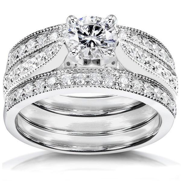 Annello 14k White Gold 1 1/4ct TDW Diamond 3-piece Bridal Ring Set (H-I, I1-I2)