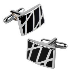 INSTEN Rhodium-plated Black/ Silver Enameled Formal Rectangle Cufflinks