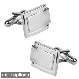 INSTEN Polished Silver Rectangle Cufflinks Version Two (Set of Two)