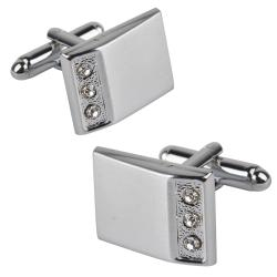 INSTEN Silver Rectangle with 3 Jewels Cufflinks