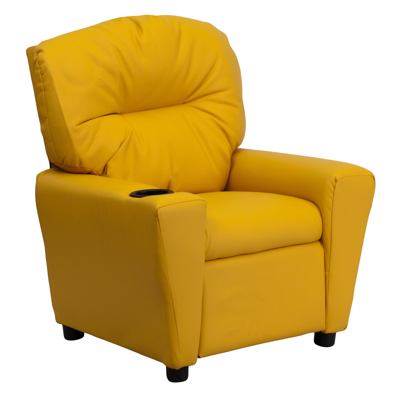 Flash Furniture Contemporary Yellow Vinyl Kids Recliner
