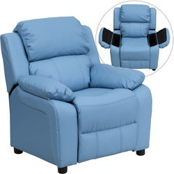 Deluxe Heavily Padded Contemporary Light Blue Vinyl Kids Recliner with Storage Arms