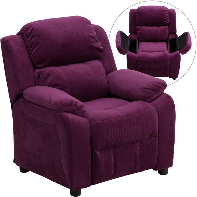 Deluxe Heavily Padded Contemporary Purple Microfiber Kids