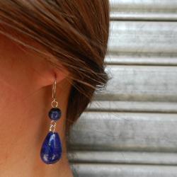 Lapis Lazuli Beaded Dangling Earrings (China)