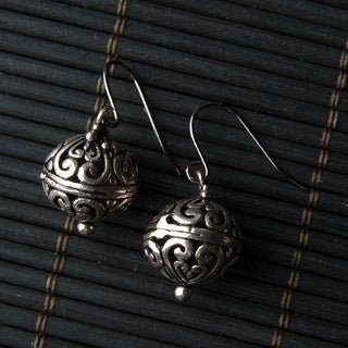 Silver-tone Bali Ball Metal Earrings (China)