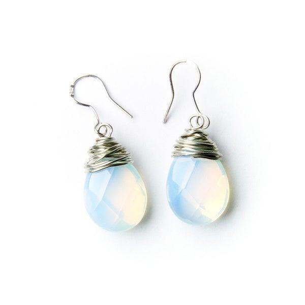 Teardrop Moonstone Bead Earrings on Sterling Silver Hooks (China)