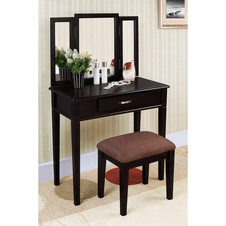 Black Finish Tri-mirror Vanity Table and Stool