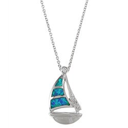 La Preciosa Sterling Silver Created Blue Opal and CZ Sailboat Necklace