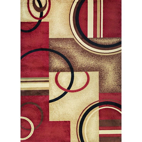 "Generations Circles Geometric Red Ivory Plush Modern Area Rug 3' 11"" x 5' 3"""