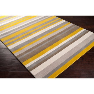 angelo:HOME Loomed Yellow Madison Square Wool Rug (5' x 7'6)
