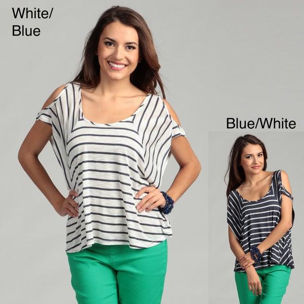 Elan Women's Striped Cut-out Cap Sleeve Top