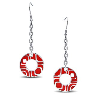 M by Miadora Stainless Steel Red Epoxy Dangle Earrings