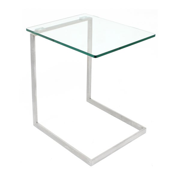 LumiSource Zenn Stainless Steel/ Glass End Table