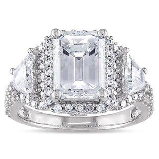 Miadora 14k White Gold 3 3/4ct TDW Certified Emerald Diamond Ring (E, SI1)