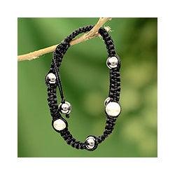 Sterling Silver 'Mumbai Night' Hematite Macrame Bracelet (India)