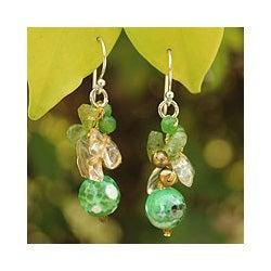 Sterling Silver 'Joy' Multi-gemstone Pearl Earrings (4 mm) (Thailand)