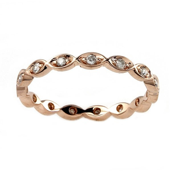Beverly Hills Charm 10k Rose Gold 1/5ct TDW Diamond Eternity Stackable Band Ring (H-I, I2-I3)