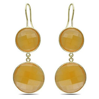 M by Miadora Goldtone 50ct TGW Synthetic Moonstone or Champagne Onyx Dangle Earrings