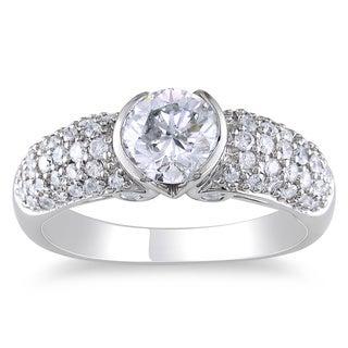 14k White Gold 1 1/2ct TDW Certified Diamond Ring (H-I, I1)