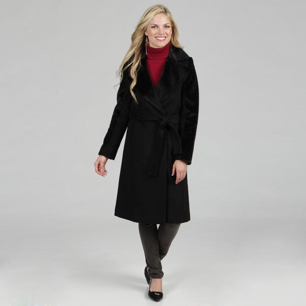 Hilary Radley Women's Faux Fur Trim Belted Wrap Jacket