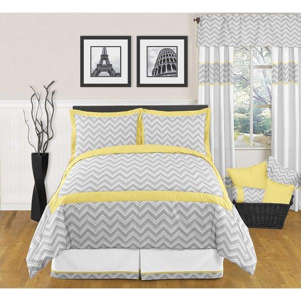 Sweet JoJo Designs Grey And Yellow Zig Zag 3-piece Full