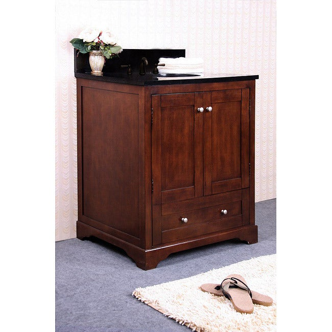 Granite top 30 inch single sink bathroom vanity for Bathroom 30 inch vanity
