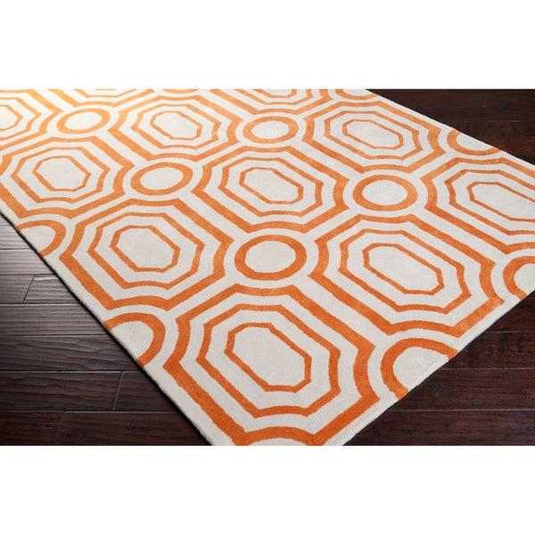 angelo:HOME Hand-tufted Orange Hudson Park Polyester Rug (8' x 10')