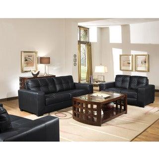 Whitney Modern Black Leather Sofa and Loveseat Set
