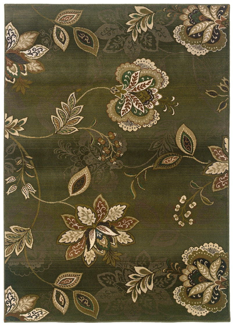 Sydney Green/ Brown Transitional Area Rug (6'7 x 9'1)
