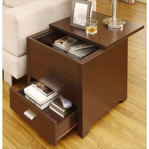 Furniture of America Kai Double Storage Dark Espresso End Table