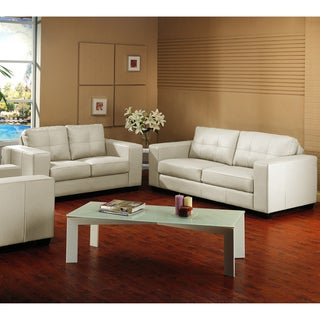 Whitney Modern Ivory Leather Sofa and Loveseat Set