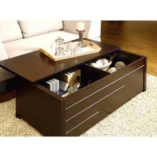 Furniture of America Max Modern Dark Espresso Hidden Storage Coffee Table