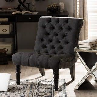 Caelie Grey Linen Modern Lounge Chair