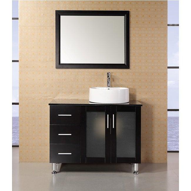 design element malibu 39 inch single sink espresso finish bathroom vanity set overstock
